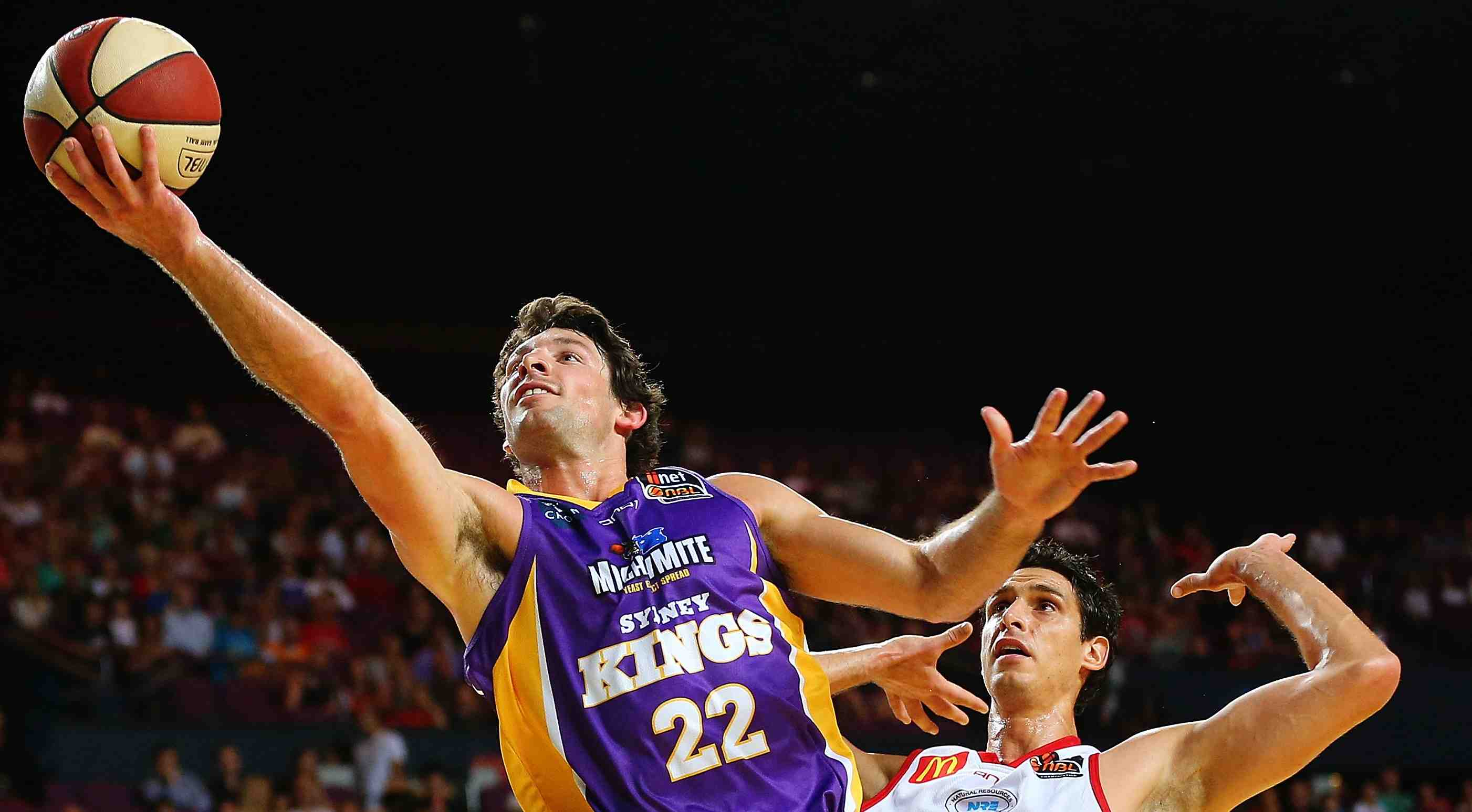 Kevin White heads to the bucket for the Sydney Kings