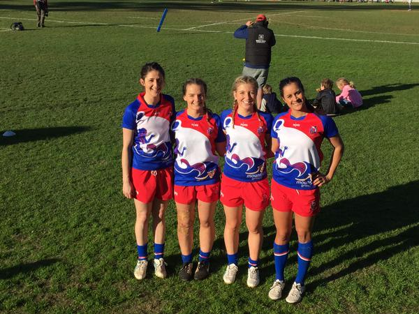 Emma Crerar (Captain) and Laura Peattie (again) in the inaugural Manly Mermaids 7s team
